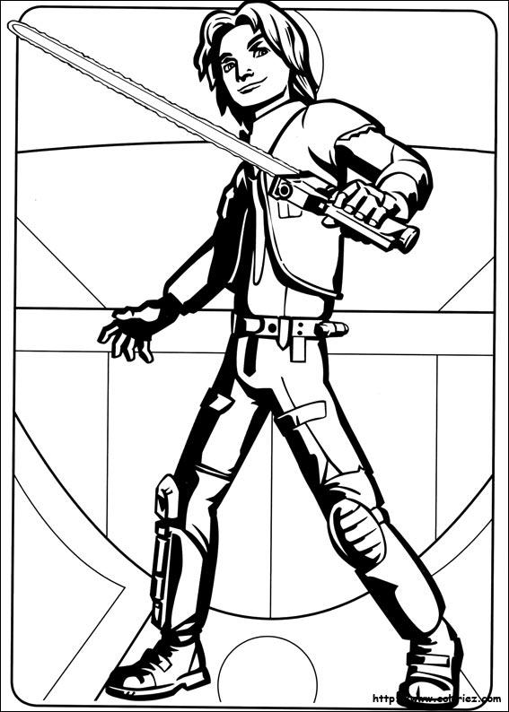 Coloriage ezra prêt pour le combat de la catégorie star wars rebels