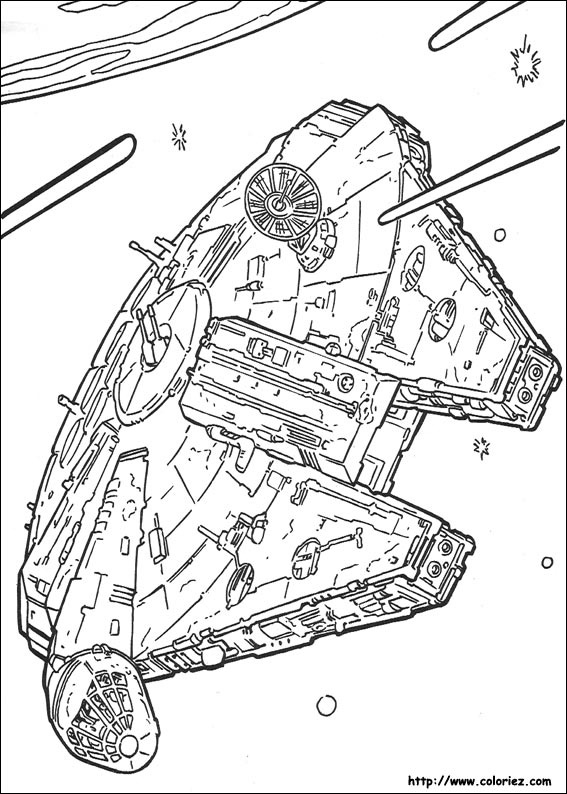 Coloriage star wars le falcon de han solo for Han solo coloring page