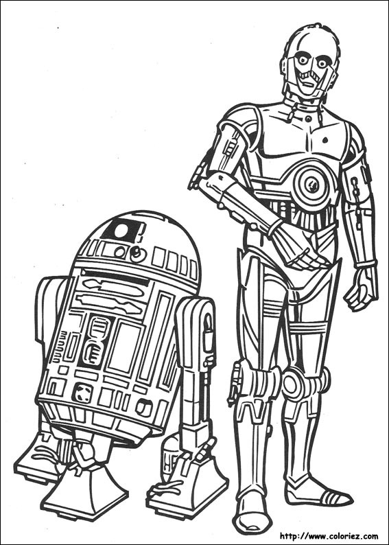 Coloriage star wars r2 d2 et c 3po - Coloriage star wars 3 ...