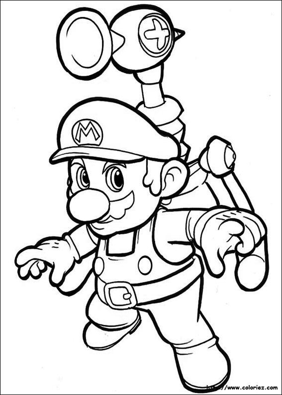 Coloriage mario j e t - Mario bros coloriage ...