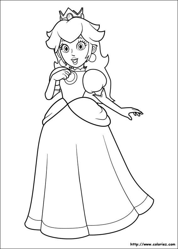 Coloriage jolie princesse peach - Coloriage de mario ...