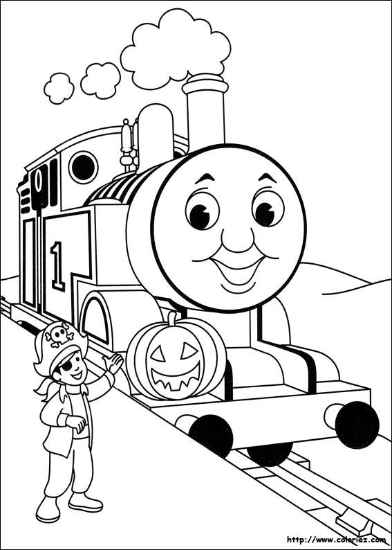 Coloriage thomas participe halloween - Coloriage thomas ...