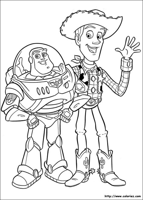 COLORIAGE - Coloriage de Woody et Buzz l'éclair