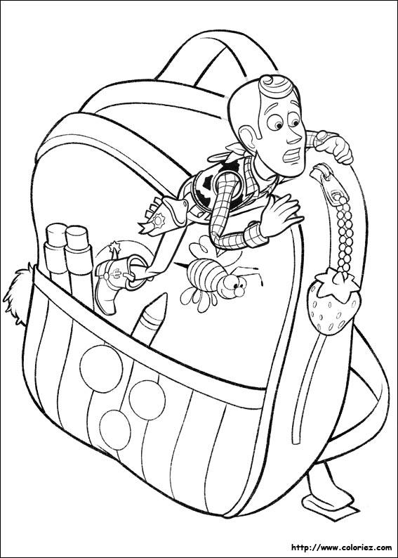 Coloriage coloriage de woody dans le cartable - Coloriage toy story 3 ...