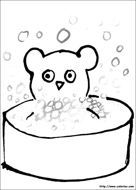 Coloriage nounours prend le bain - Nounours a colorier ...