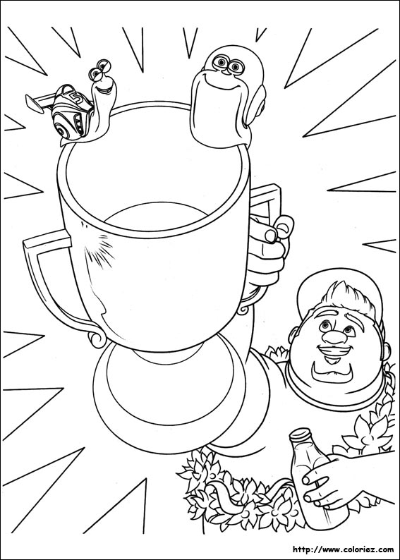 Coloriage turbo remporte la victoire - Coloriage escargot turbo ...