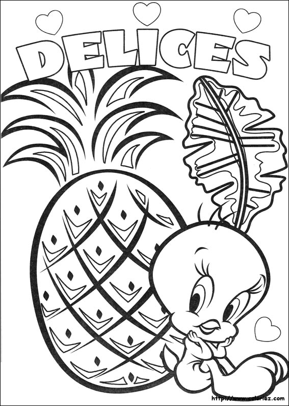 coloring pages tweety bird - coloriage tweety aime l 39 ananas