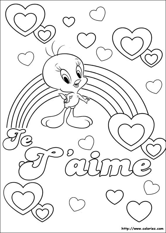 tweety je taime - Coloriage Com