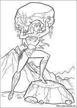 Coloriage de Wonder Woman et le rocher