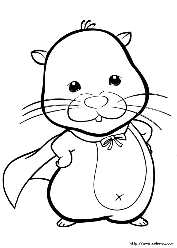 Coloriage chunk et sa cape for Zhu zhu pets coloring pages