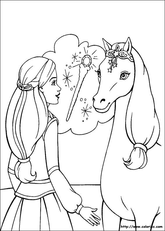 Coloriage barbie cheval magique - Coloriage barbie cheval ...