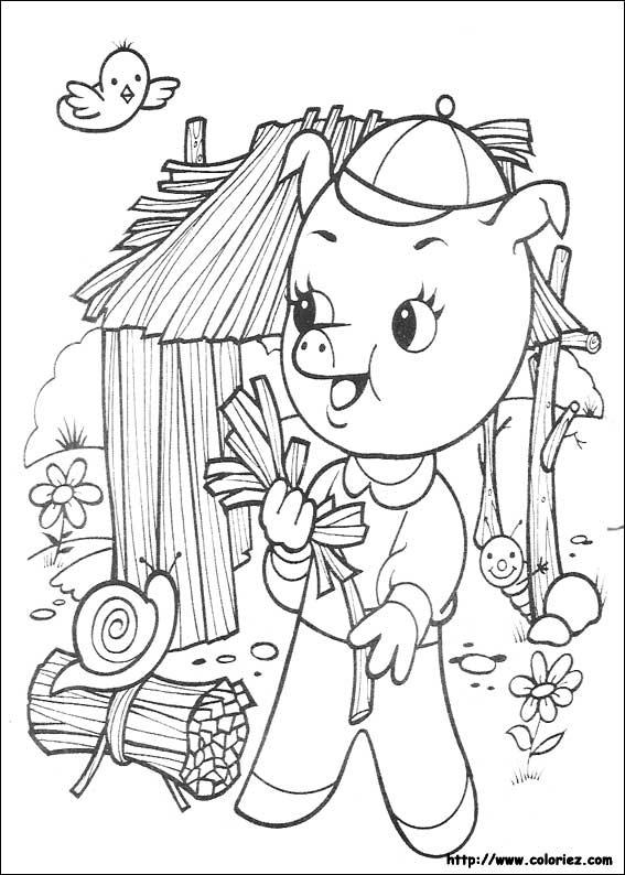 Coloriage les 3 petits cochons - Coloriez com images coloriages ...