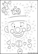 Jeux-coloriages de points � relier de clown