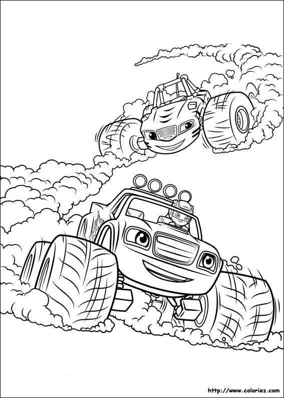 Kleurplaten Monster Trucks Print Coloriage Blaze Dans Course