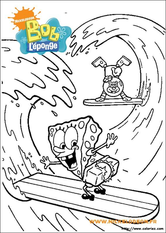 Coloriage Coloriage De Bob Léponge Et Sandy Faisant Du Surf