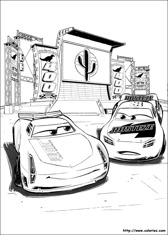 Coloriage jackson storm et flash mcqueen - Coloriage cars et mack ...