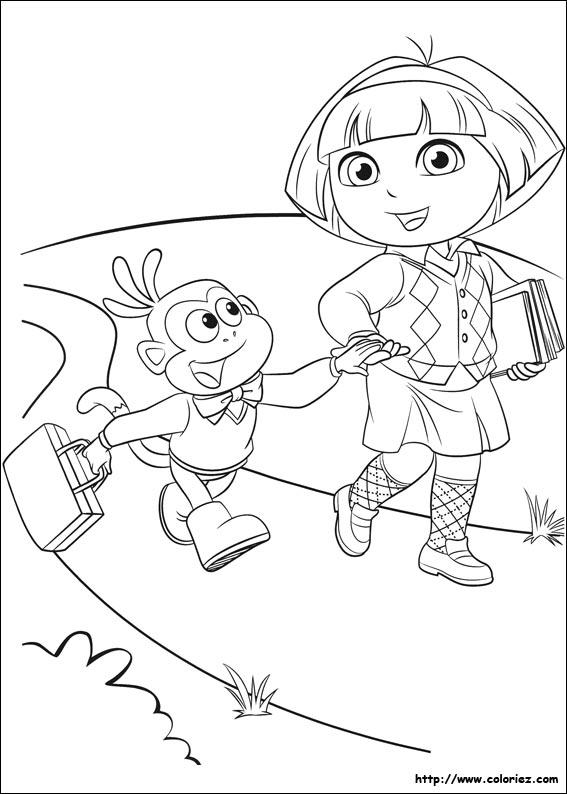 Coloriage Dora Va à L école