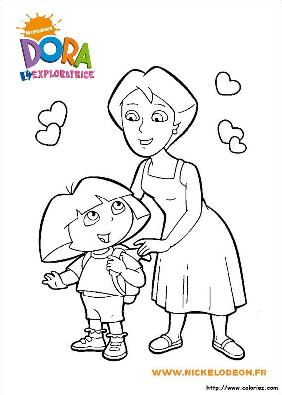 Coloriage Coloriage De Dora Et Sa Maman