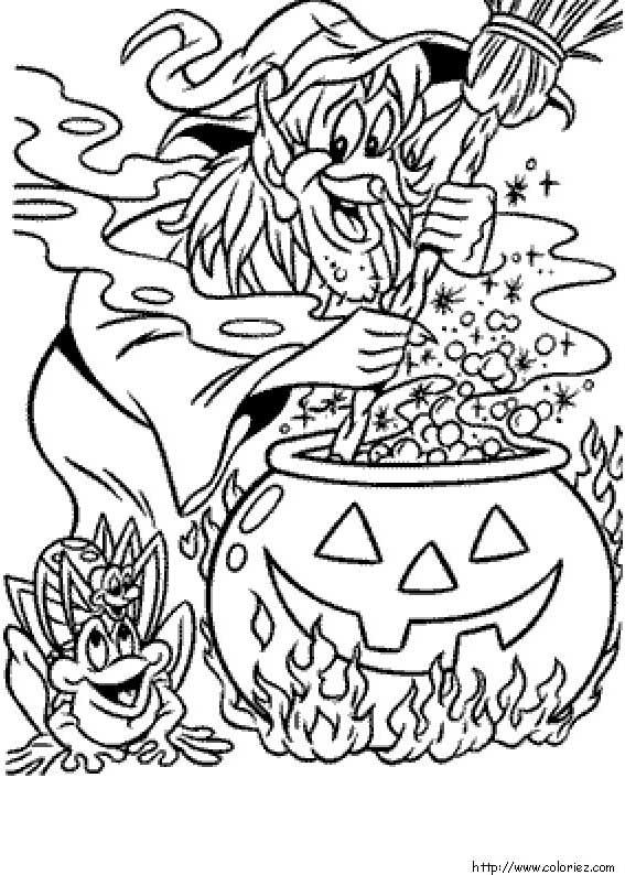 Coloriage une sorci re et sa marmite - Coloriage halloween gratuit ...