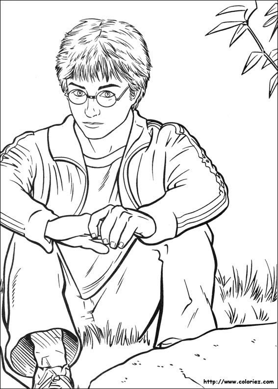 Coloriage Coloriage Harry Potter Pensif