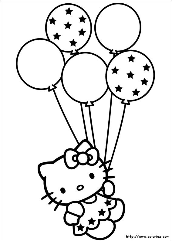 Coloriage Kity Ballons