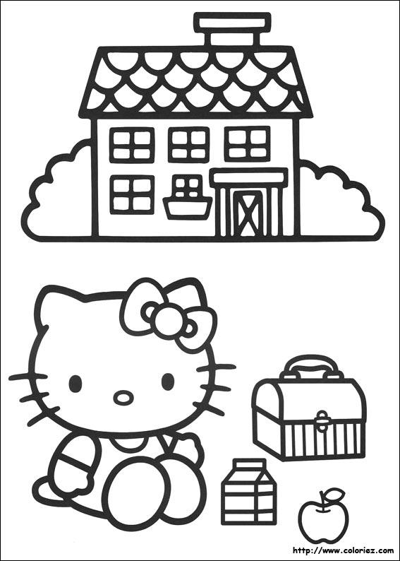 Coloriage Kitty à L école
