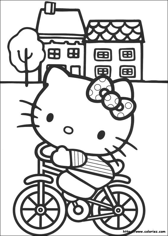 Coloriage Velo.Coloriage Kitty Fait Du Velo