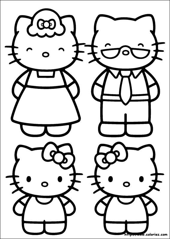 Coloriage la famille de kitty - Hello kitty et mimi ...