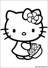 Kitty cueillette des fleurs