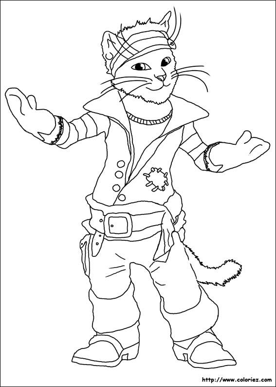 Coloriage du chat bott et ses bottes de sept lieux - Dessin chat botte ...