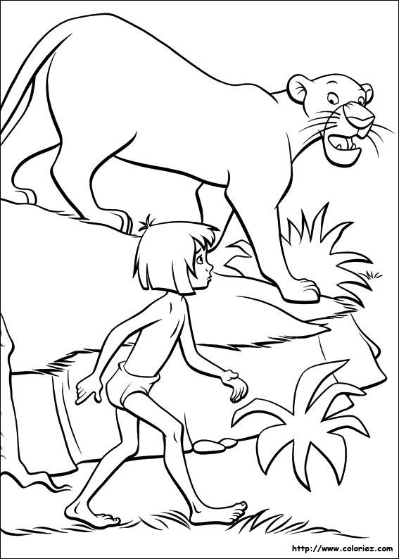 COLORIAGE - Mowgli et Bagheera