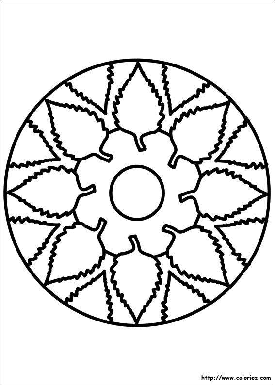 Coloriage Mandala Maternelle A Imprimer Gratuit.Coloriage Coloriage Mandala Feuillage