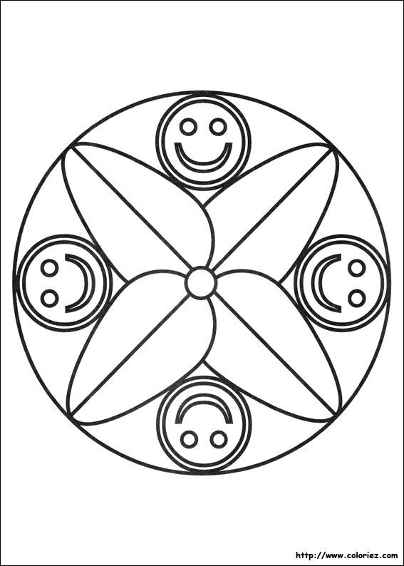 Coloriage Mandala Petits Smileys Grande Feuilles