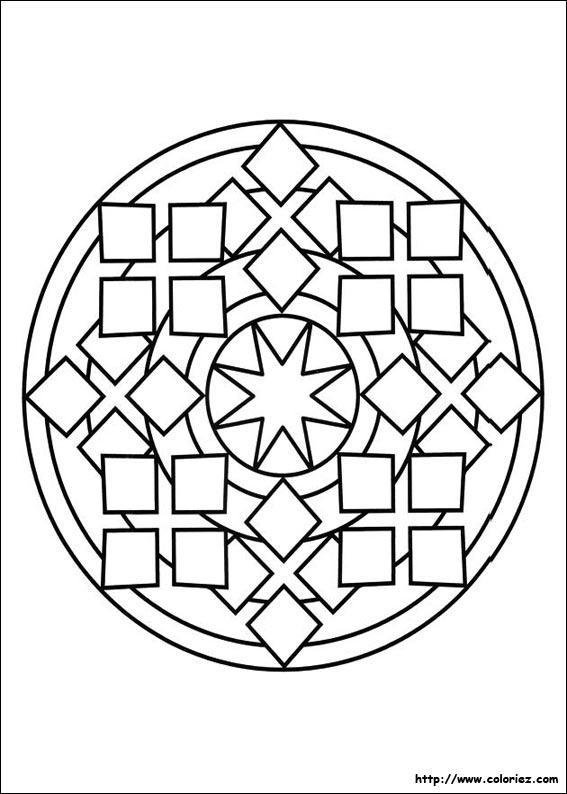 Coloriage De Mandala Etoile.Coloriage Mandala Carres Etoile