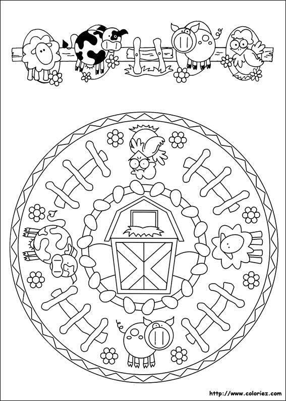 Coloriage Ferme Cochon.Coloriage Mandala De La Ferme