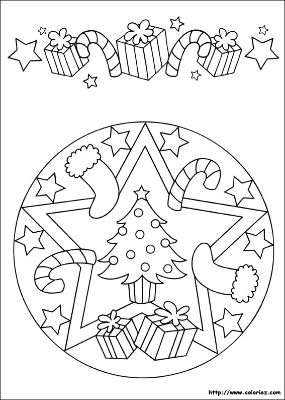 Coloriage Mandala Et Frise De Noël