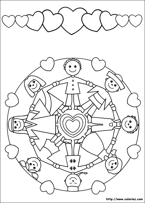 Coloriage mandala et frise de enfants du monde - Dessin main enfant ...