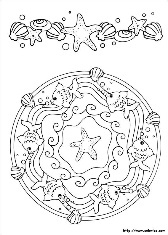 Coloriage Mandala Et Frise Des Poissons