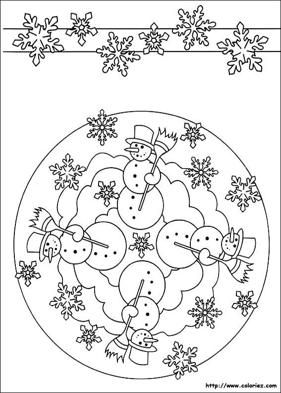 Coloriage Mandala Et Frise De Lhiver