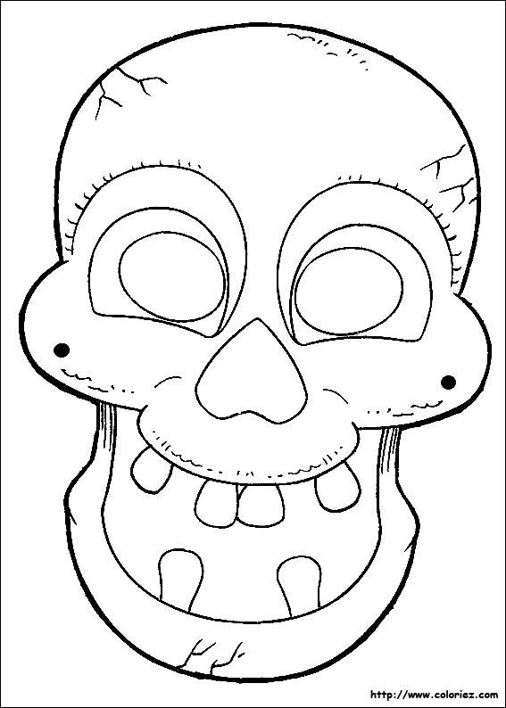 Squelette Dessin Halloween.Coloriage Masque à Colorier De Squelette