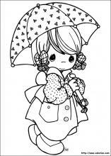 Coloriage Petite Fille Parapluie.Coloriages De Moment Precieux Precious Moments