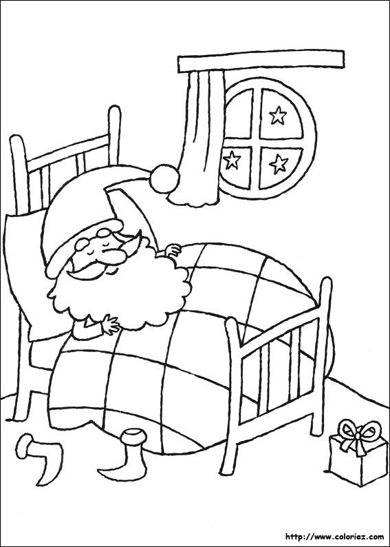 Coloriage Le Père Noël Dort