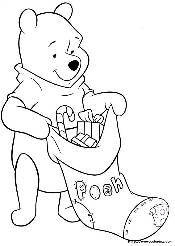 coloriage de la chaussette de noel de winnie l ourson