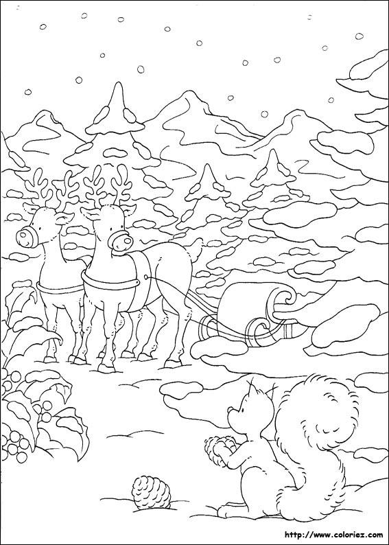 Paysage De Noel A Imprimer.Coloriage Coloriage D Un Paysage De Noël