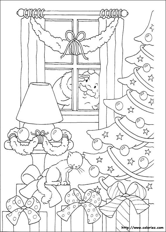 Coloriage Pere Noël à La Fenêtre