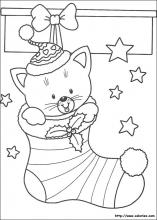 Coloriage Chat Noel.Les Coloriages De Noel