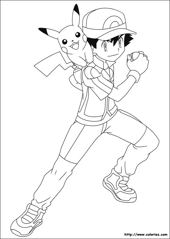 Coloriage Pikachu Et Sacha