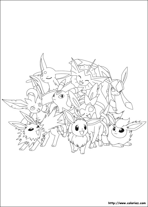 Coloriage Pokemon Famille Evoli.Coloriage Evoli Et Ses Evolutions