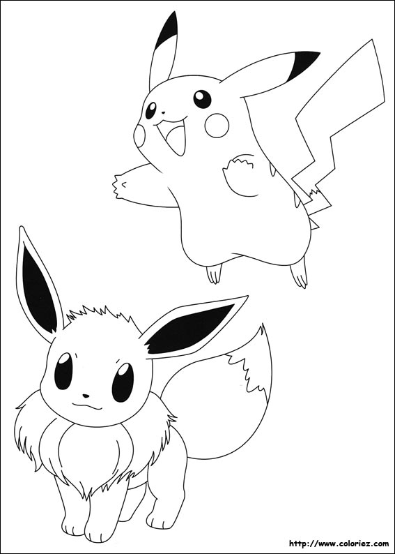 Coloriage Pokemon Pikachu Et Evoli.Coloriage Evoli Et Pikachu