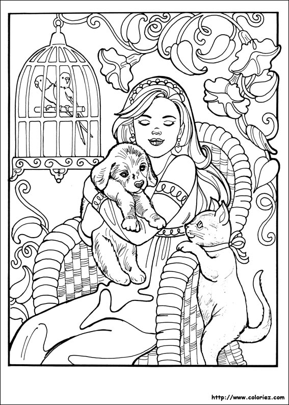 Coloriage Chat Et Princesse.Coloriage Princesse Leonora Et Les Animaux